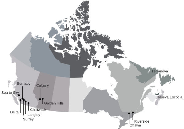 Mapa de distritos escolares canadienses
