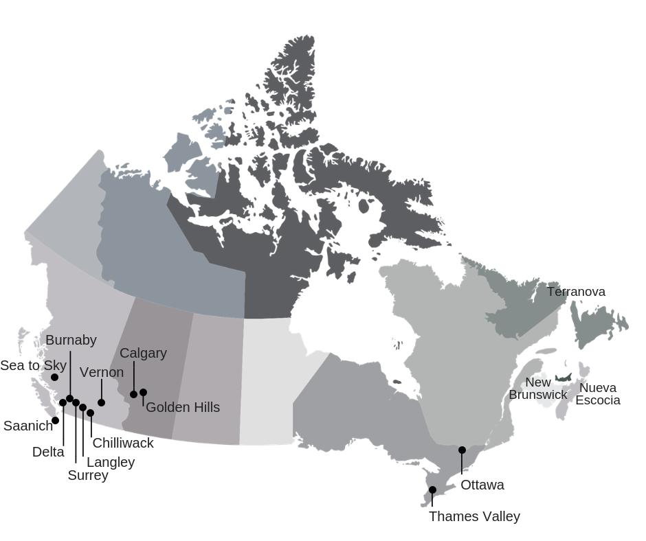 Mapa Canadá curso escolar